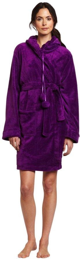 Seven Apparel Hooded Pom Pom Plush Robe