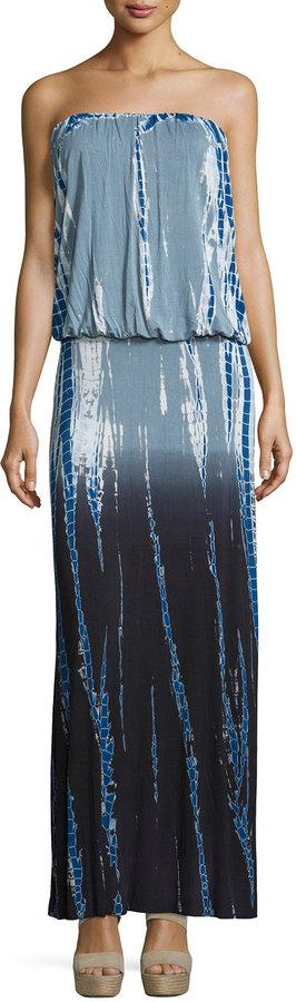 Young Fabulous and Broke Sydney Strapless Ombre Tie-Dye Maxi Dress, Charcoal Rain Ombre