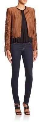 Farrell Cropped Faux Suede Fringe Jacket