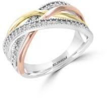 Final Call Diamond, 14K White, Yellow & Rose Gold Ring