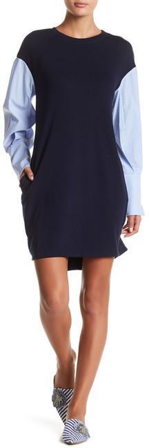 ECI Poplin Sleeve Ponte Shift Dress