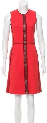 Reed Krakoff Leather-Accented Knee-Length Dress