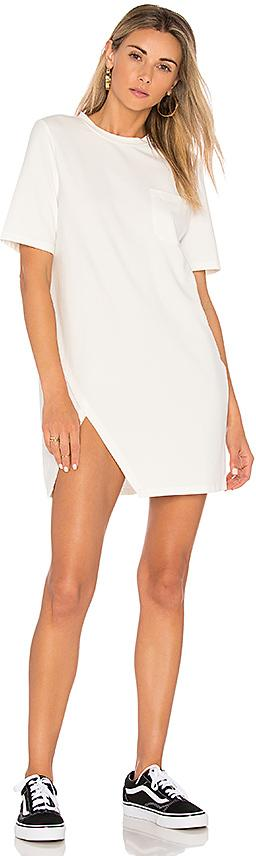 MINKPINK Split Front Tee Dress in Ivory