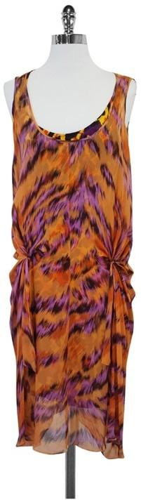 Diane von Furstenberg Orange & Purple Animal Print Silk Dress