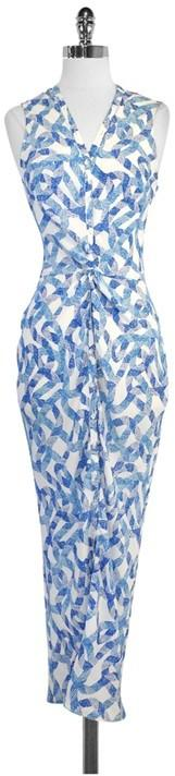 Wayne Blue & White Print Silk Maxi Dress