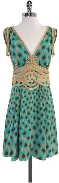 Nanette Lepore Teal, Brown & Tan Silk Dress