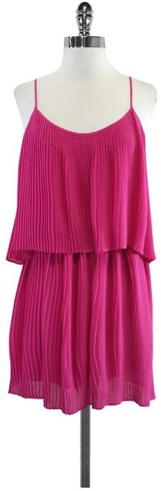 Parker Fuchsia Pleated Spaghetti Strap Dress