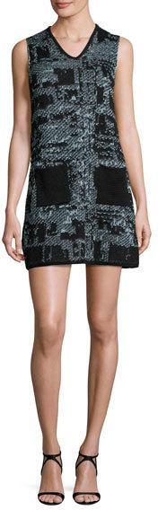 M Missoni Sleeveless V-Neck Boucle Shift Dress, Ice