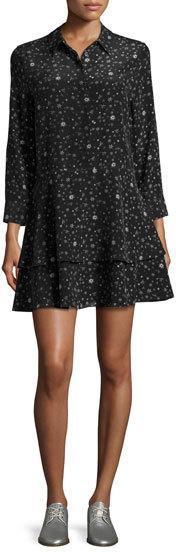 Equipment Natalia Star-Print Washed Silk Shirtdress, True Black Midnight in Paris