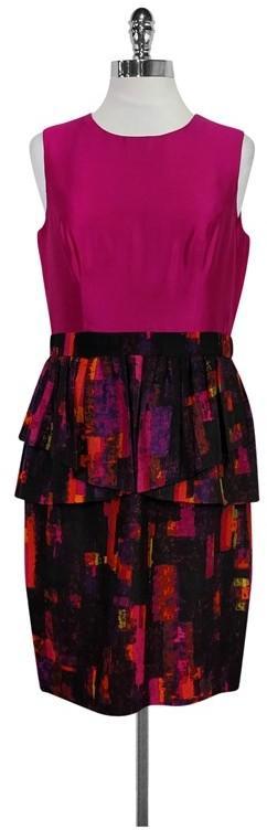 Shoshanna Hot Pink Peplum Dress