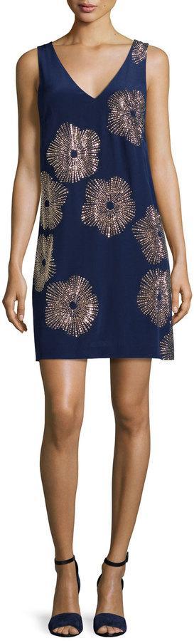 Trina Turk Sleeveless Embellished Silk Shift Dress, Midnight