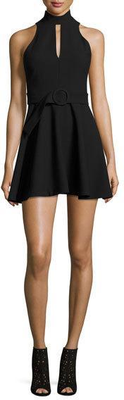 Cinq à Sept Clothing Juni Belted Mock-Neck Mini Dress, Black