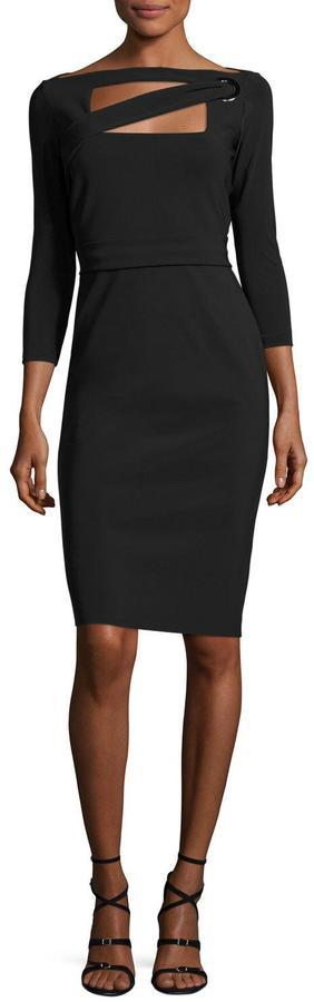 La Petite Robe di Chiara Boni Peekaboo Cutout Sheath Dress, Nero (Black)