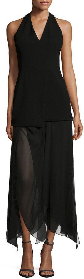 Halston Heritage Sleeveless Handkerchief-Hem Dress, Black