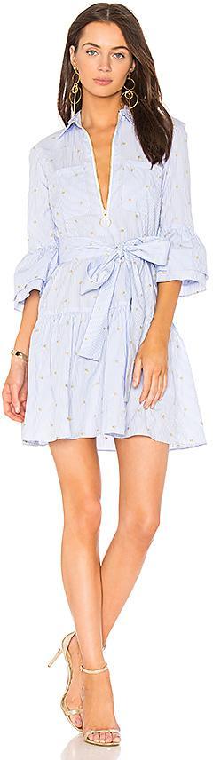 DEREK LAM 10 CROSBY Belted Poplin Dress in Blue