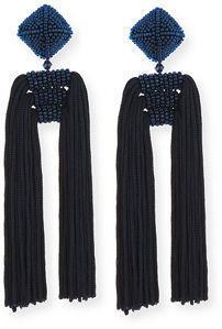 Sachin & Babi Noir Beaded Double Tassel Clip-On Earrings