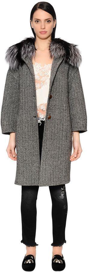 Wool Herringbone Coat W/ Fox Fur Collar