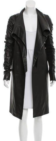 Rick Owens Open Front Leather Coat