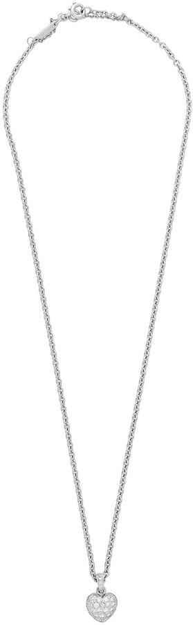 Cartier Estate 18k White Gold Pave Diamond Heart Pendant Necklace