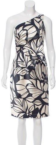 David Meister One-Shoulder Leaf Print Dress