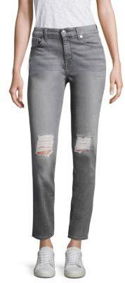 7 For All Mankind Distressed High Waist Jeans