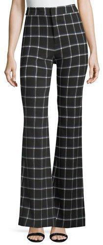 Derek Lam 10 Crosby High-Waist Grid-Print Flared-Leg Crepe Pants