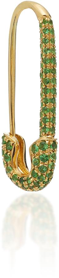 Anita Ko Safety Pin Earring with Green Tsavorite