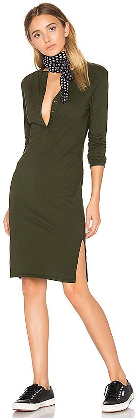 Bobi Long Sleeve Button Front Dress in Green. - size XS (also in )