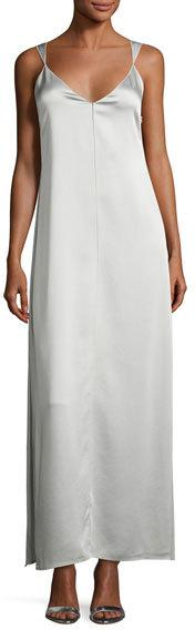Elizabeth and James Pearl Sleeveless Satin Slip Gown, Light Gray