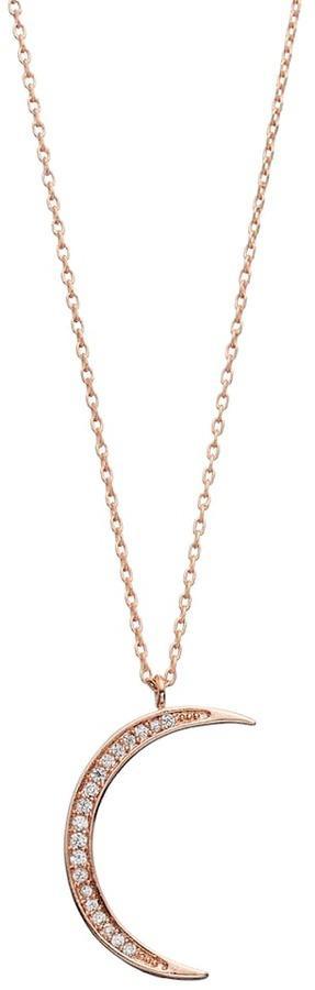 LC Lauren Conrad Runway Collection Cubic Zirconia Crescent Moon Pendant Necklace