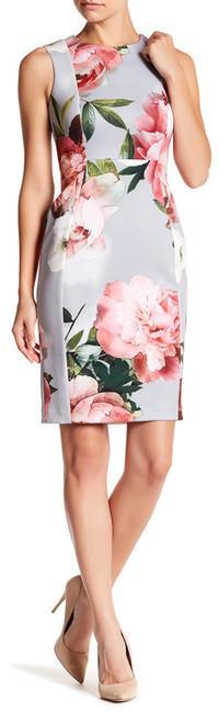 Modern American Designer Floral Scuba Sheath Dress (Petite)