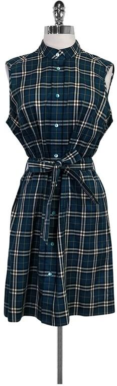 Burberry Teal Plaid Dress