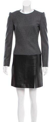 Alexander McQueen Wool Leather-Trimmed Dress
