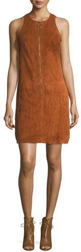Trina Turk Jewel-Neck Sleeveless Zip-Front Suede Dress