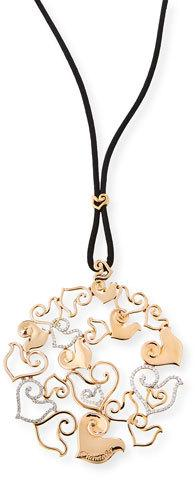 Chantecler 18K Rose Gold & Diamond Pendant on Black Silk Cord