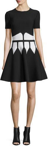 Alexander McQueen Jewel-Neck Dress with Graphic Flame Waist