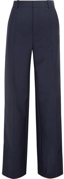 Joseph - Ferdy Wool And Mohair-blend Wide-leg Pants - Navy