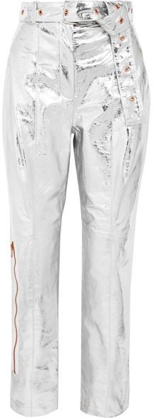 Proenza Schouler - Metallic Textured-leather Straight-leg Pants - Silver
