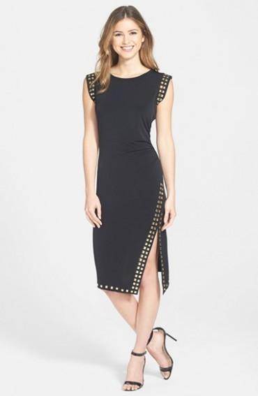 Black/ Gold MICHAEL Michael Kors Studded Asymmetrical Hem Sheath Dress ...