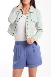 Charlotte Ronson High Waisted Shorts in Cerulean