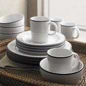 Roulette Blue Band 16-Piece Set: four 4-piece place settings.