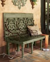Distressed Three-Seat Bench