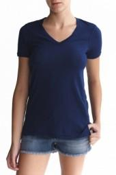 Stateside Side Slits V Neck Tee Navy