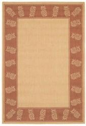 "Couristan Area Rug, Recife Indoor/Outdoor 1177/1112 Tropics Natural-Terra-cotta 7' 6"" Square"