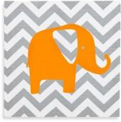 Glenna Jean Chevron Elephant Wall Art in Orange/Grey