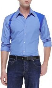 Alexander McQueen Contrast Harness Shirt, Blue