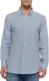 7 For All Mankind Linen Button-Down Shirt, Light Blue