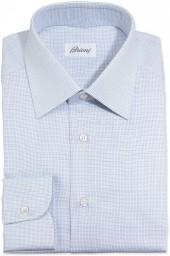 Brioni Lattice-Weave Dress Shirt, Blue