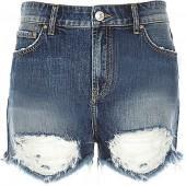 River Island Womens Dark wash ripped denim shorts