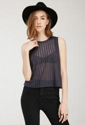FOREVER 21 Sheer-Striped Top